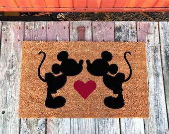 2 Sizes - Mickey and Mickey -  Disney - Coir Door Mat - Doormat - 18 x 30 and 24 x 31.5 - Welcome Mat - Housewarming Gift
