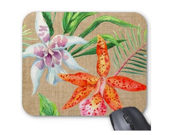 Tropical Print Mouse Pad, Colorful Watercolor Orchid Flowers, Floral Mousepad, Pink, Orange, Green & Purple