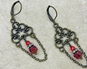 Moulin Rouge - Vintage style earrings with Czech glass beads