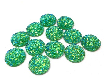 12mm Druzy Cabochons, CANDY GREEN, jewelry making kit, earring set, diy jewelry, druzy studs, 12mm Druzy, cabochon, stud earrings, GREEN