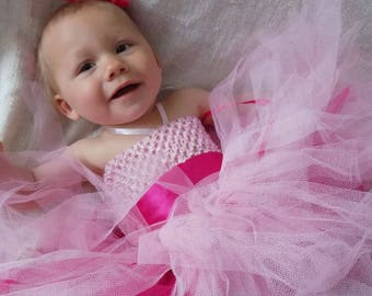 Pink Princess tutu dress handmade tulle dress bridesmaid, christening dress for baby girl dress