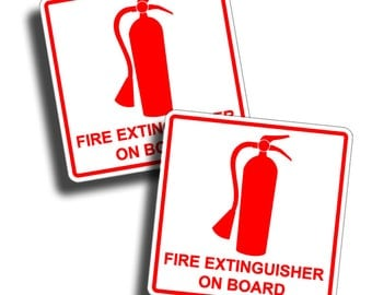 Fire  Extinguisher On Board Safety Stickers Decal Rescue Emergency Boat Truck RV Semi Rig Safe 1st Aid