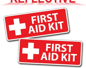 Reflective Red First Aid Kit Stickers Decal Camp Boat Kayak SUP Camp Kid Family Jeep atv HD  SxS Baseball Field Game DIY 1st Safety