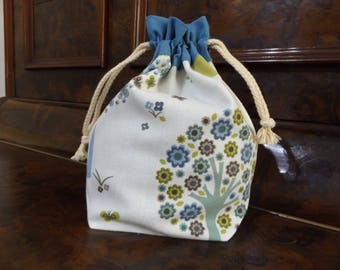 Project Bag Handmade Ooak drawstring bag sock size