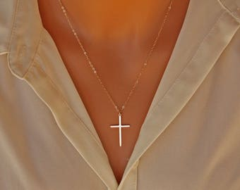 Elegant Cross necklace- 14K gold filled, long large skinny cross necklace simple, mothers day gift ideas for her mom daughter sister wife