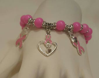 Hot Pink, Breast Cancer Bracelet, Free Shipping