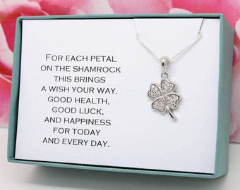 Good luck gift Lucky shamrock necklace sterling silver four leaf clover charm birthday gift for her, lucky charm, graduation gift for her