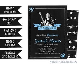Rockstar Baby Shower Invitations - Rock N Roll Baby Shower Invite - Boy Rockstar On The Way - Guitar Invitations - Chalk Invite - Stars