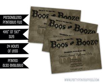 Printable Halloween Invitations - Boos & Booze - Adult Halloween Party - Scary Halloween Invitations - All Hallow's Eve - Graveyard - creepy