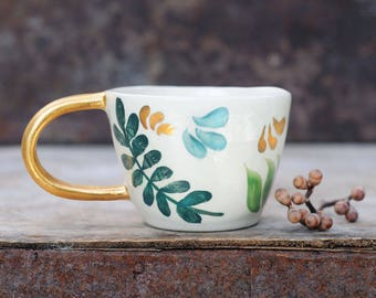 NEW LEAF CUP - Handmade Ceramic Mug - Hand Painted Leaf Pattern - Gold Handle