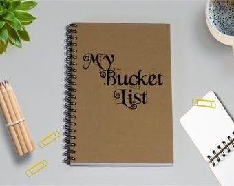 Notebook Journal- My Bucket List Notebook - 5 x 7 Journal, Writing journal, travel plans, Planning Journal, To Do List, Planning notebook