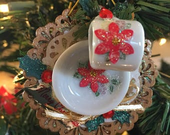 Miniature Teacup & Saucer Christmas ornament