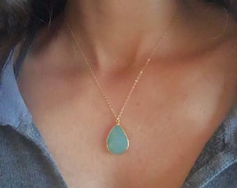Aqua Green Chalcedony Necklace // Green Chalcedony Gold Necklace