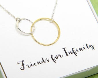 Friends Necklace, Double Circles Necklace, Two Circles Eternity Necklace, Gold Silver Ring Necklace, Infinity Necklace, Gift for Frinds