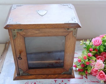 Vintage wooden showcase / wooden showcase with mirror door / old wooden showcase / small wooden showcase / wooden showcase with lock