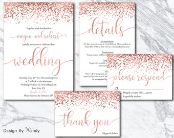 rose gold wedding invitation confetti calligraphy wedding invitation suite printable invitation set rose gold font - Rose Gold Wedding Invitations