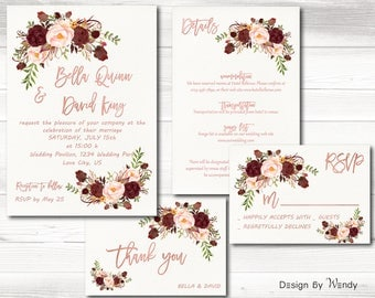 Burgundy wedding invitation printable rose gold font marsala wedding invitation suite floral boho bohemian gold wedding invite set