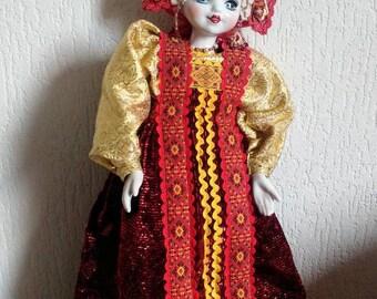 Vintage Russian folklore porcelain doll USSR Soviet souvenir