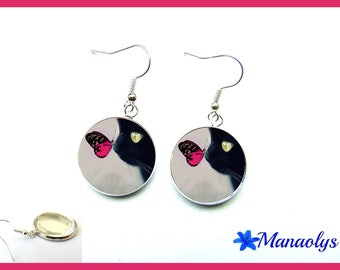 Black cat and pink butterfly, 1930 glass cabochons earrings
