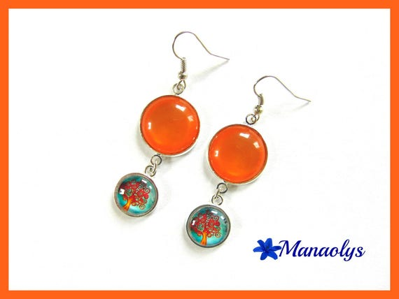 Tree earrings of orange, glass cabochons and resin cabochons