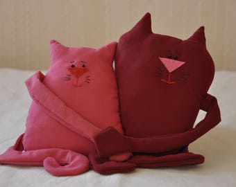 couple in love two cats embrace lovers bride groom husband wife newlyweds just married heart cute Valentine's Day