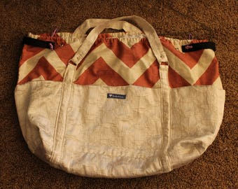 Grocery Cart Bag, Red Chevron