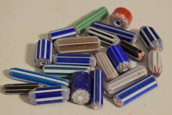 Beads African Assorted Chevron Glass Beads Necklaces Jewelry Bracelets Blue Green Red Beads