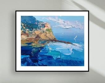 Cinque Terre poster - Cinque Terre canvas -  Prints of Cinque Terre Manarola - Sea Wall Art Decor - Italy wall art - Art canvas ocean