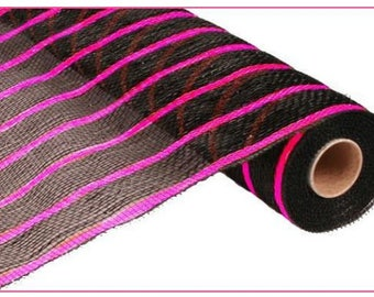 "21"" Black Hot Pink Stripe Deco Mesh,  Deluxe Black Deco Poly Mesh Thin Pink Stripe, Hot Pink and Black stripe deco mesh - RE1033N9"