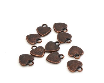 Set of 10 charms hearts 12 mm copper color