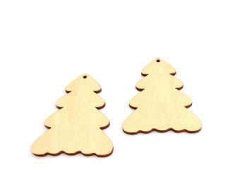 Embellishments Christmas tree wooden blank set of 2