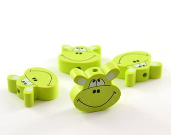 1 wood hippo lime green color bead
