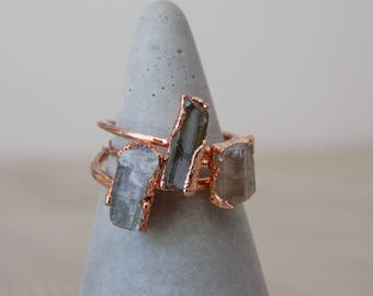 Tourmaline ring - rough crystal ring - copper crystal ring - green stone ring - boho ring - raw stone ring - gifts for her