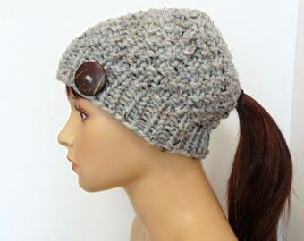Knit Ponytail Hat - Winter Hat with Ponytail Hole - Ponytail Beanie - Low Bun Hole Hat - Gift for Her - Made in Alaska - Chunky Gray Tweed