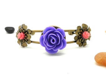 Bangle, purple and pink flowers