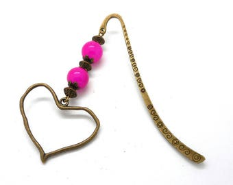 Bronze bookmark, pink beads and irregular