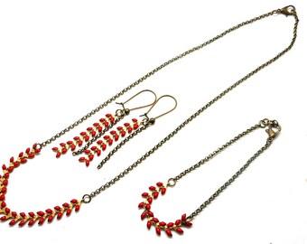 Set necklace bracelet earring ear in red enamel link chain