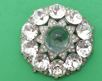 REDUCED Eisenberg Original brooch large with clear rhinestones and glass dome AJ72