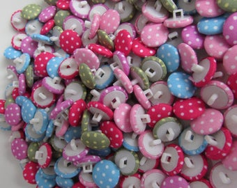 Fabric Covered Spotty Buttons