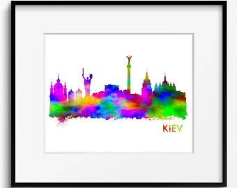 Kiev Skyline Watercolor  Art Print (247) Cityscape, Ukraine, Abstract, Travel, City