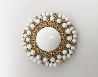 Vintage Miriam Haskell Filigree Opaque White Milk Glass Pin Brooch