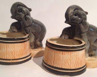 "ELEPHANT w Barrel Chi Japan Ceramic Mid Century  1950's Vase Vintage 5"" Set of 2 Planters RARE"