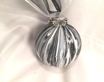 Black and White  Marble Swirl Acrylic Pour Painted Glass Christmas Ornament Rhinestones Ribbon