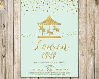 Mint and Gold CAROUSEL FIRST BIRTHDAY Invitation, Carnival 1st Birthday Invite, Carousel Birthday Invites, Merry Go Round Invite, Fairground