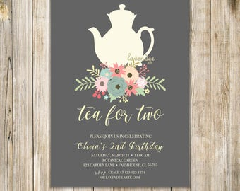 FLORAL TEA For TWO Invite, Tea for 2 Invitation, 2nd Birthday, Floral Birthday Tea Party, Birthday Brunch, Girl Second Birthday, Tea for 3