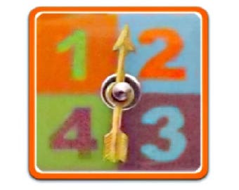 MOVEABLE Game Spinner Button - Fused ORANGE Glass & Metal
