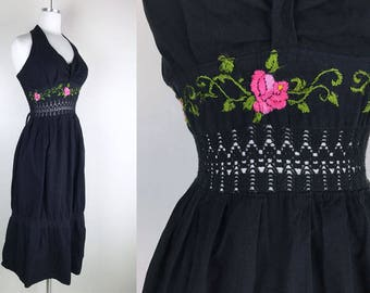 1970s Black Halter Dress with Pink Embroidered Flowers and Black Crocheted Lace // 70s Halter Dress Mexican Dress Summer Dress