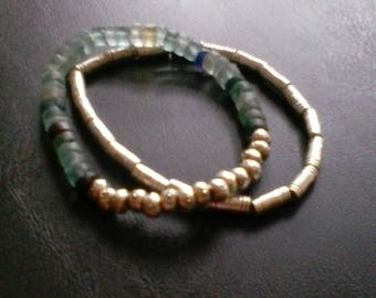 Two Roman glass,silver flowered hammered, and one silver, tube, designed, beaded, bracelets, Free shipping