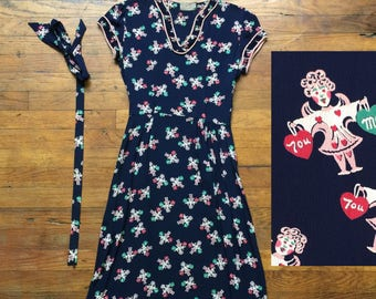 Vintage 1930s-40s rayon dress / novelty print XS/belt