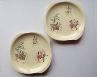 Pair of Beswick Dancing Days Tea Plates or Cake Plates. Mid Century Retro Side Plates. Trio Spares. Perfect for a 1950s Vintage Tea Party!